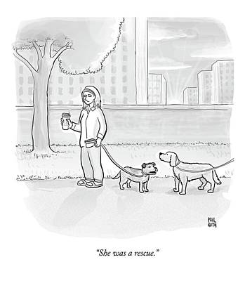 Dog Drawing - One Dog Talks To Another by Paul Noth
