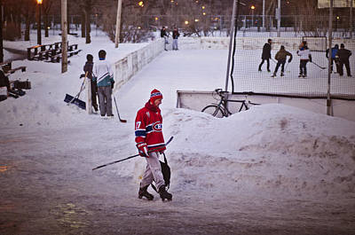 Street Hockey Photograph - One Evening In Montreal by Valerie Rosen