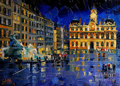 Streets Of France Painting - One Evening In Terreaux Square Lyon by Mona Edulesco