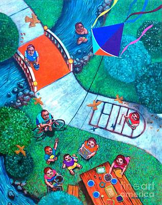 Kite Fishing Painting - One Fine Day by Paul Hilario