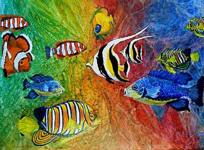 Representative Abstract Mixed Media - One Fish Two Fish by Liz Borkhuis