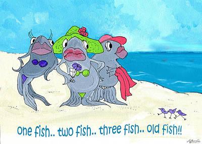 Mixed Media - One Fish Two Fish by Lizi Beard-Ward