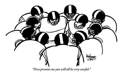 Football Drawing - One Football Player Says To The Others by Kaamran Hafeez