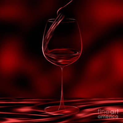 Digital Art - One Glass Red by Johnny Hildingsson