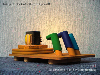 Mixed Media - One God Three Religions by Mojo Mendiola