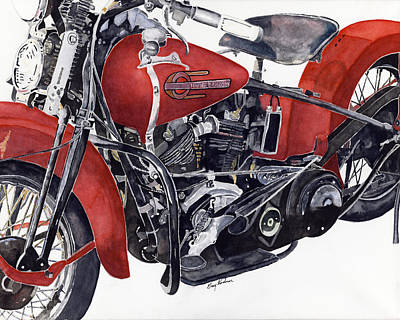 Motorcyle Painting - One Great Knucklehead by Gary Roderer