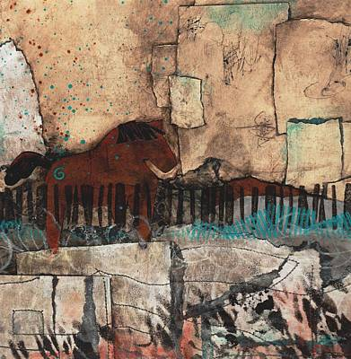 Brown Mixed Media - One Horse by Laura  Lein-Svencner