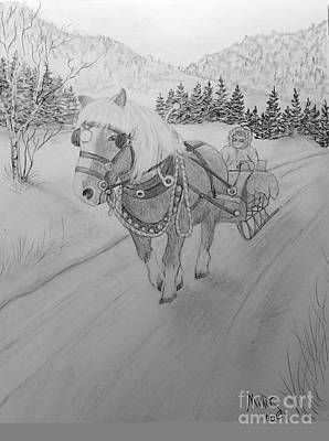 Drawing - One Horse Sleigh  by Peggy Miller