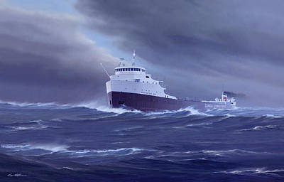 Great Lakes Ship Painting - One Hour To The Passage by Captain Bud Robinson