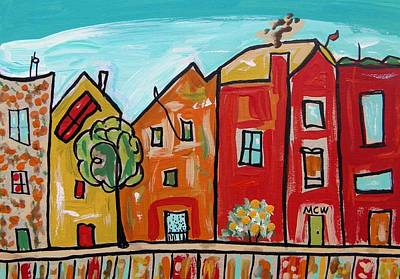 Primitive Raw Art Painting - One House Has A Screen Door by Mary Carol Williams