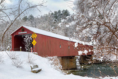 New England Covered Bridges Photograph - One Lane Bridge by Bill Wakeley
