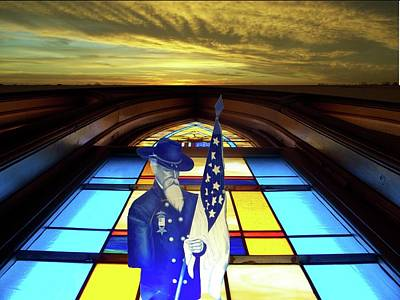 Leadlight Photograph - One Last Battle Union Soldier Stained Glass Window Digital Art by Thomas Woolworth