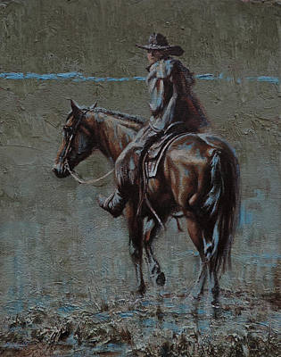 Working Cowboy Painting - One Last Look by Mia DeLode