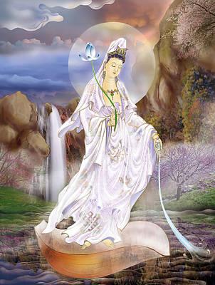 One Leaf Kuan Yin Print by Lanjee Chee