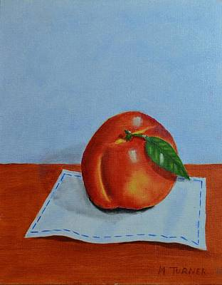 Art Print featuring the painting One Leaf Peach by Melvin Turner