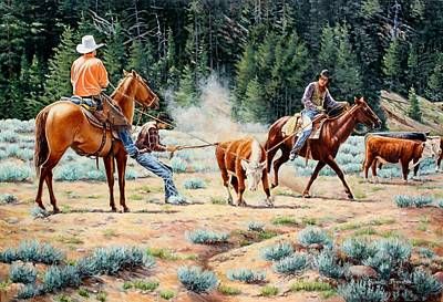 Cowboys Roping A Steer Painting - One Leg Catch by Susan Branston