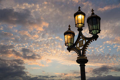 Photograph - One Light Out - Westminster Bridge Streetlights - River Thames In London Uk by Georgia Mizuleva
