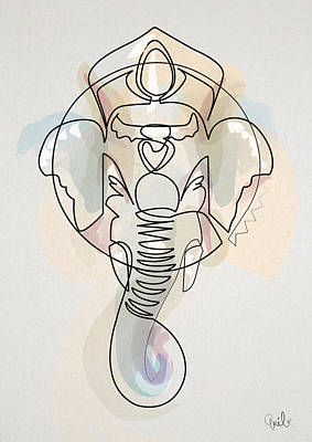 Abstract Digital Art - One Line Ganesh by Quibe Sarl