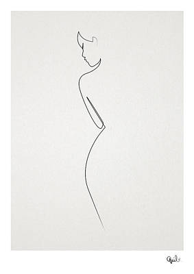 Abstract Wall Art - Digital Art - One Line Nude by Quibe Sarl