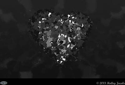 Digital Art - One Love Black And White by Holley Jacobs