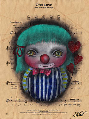 Pop Surrealism Painting - One Love Clown by Abril Andrade Griffith