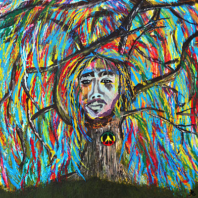 Bob Marley Abstract Painting - One Love by LiL Bean Art