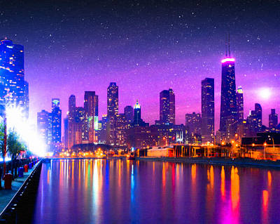 Photograph - One Magical Night In The Windy City - Chicago Skyline by Mark E Tisdale