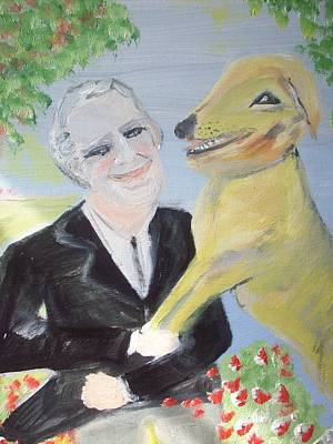 One Man And His Dog Art Print by Judith Desrosiers