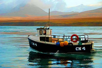 One Man Fishing Boat Art Print by Garland Johnson