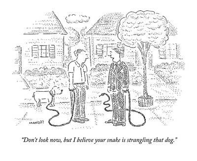 One Man Walks A Dog Art Print