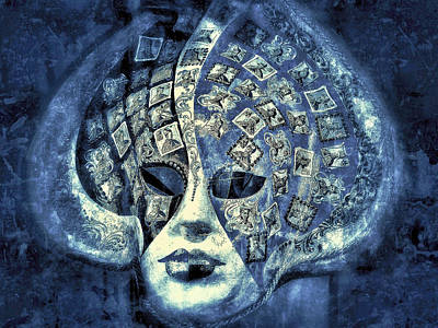 One Mask  - Blue  Print by Connie Handscomb