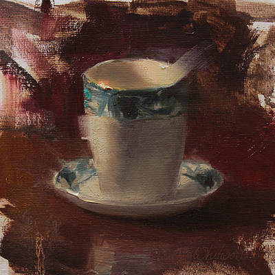 Tea Painting - One More Cup Teacup Painting by Karen Whitworth