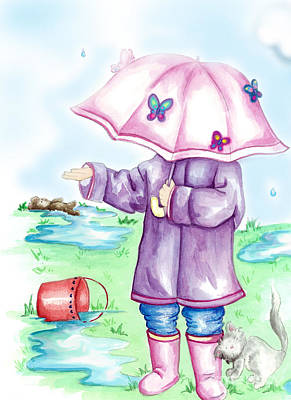 Rainy Day Drawing - One More Drop by Dani Abbott
