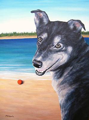 Dog Play Beach Painting - One More Throw? by Mark Alan Roberts