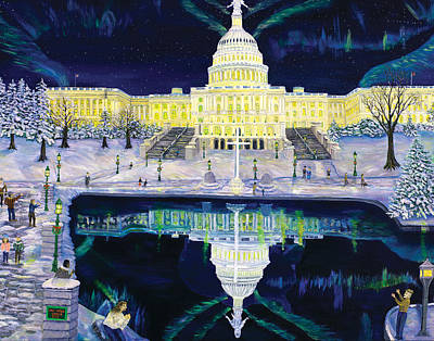 Us Capital Painting - One Nation Under God by Mike De Lorenzo