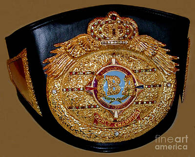 Artist Working Photograph - One Of Ana Julaton's World Championship Boxing Belts by Jim Fitzpatrick