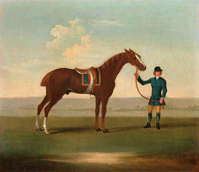 Gold Cloth Painting - One Of Four Portraits Of Horses - A Chestnut Horse  Old by Litz Collection