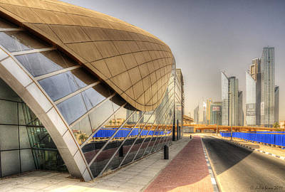 City Of Dubai Photograph - One Of Many Dubai Metro Stations And The Cityscape Line by Julis Simo