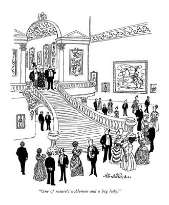 Staircase Drawing - One Of Nature's Noblemen And A Bag Lady by J.B. Handelsman