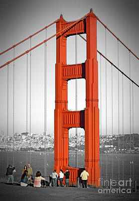Photograph - One Of The Golden Gate Bridge's Towers Viewed From The Marin Side Of The Bay Digitally Altered  by Jim Fitzpatrick