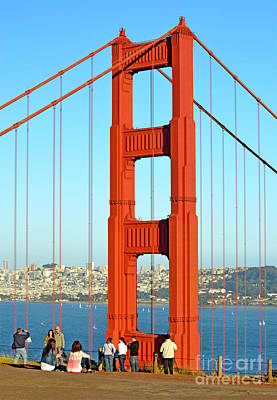 Photograph - One Of The Golden Gate Bridge's Towers Viewed From The Marin Side Of The Bay by Jim Fitzpatrick