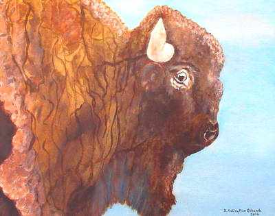 Buffalo Extinction Painting - One Of The Mighty Few by Ashley Goforth