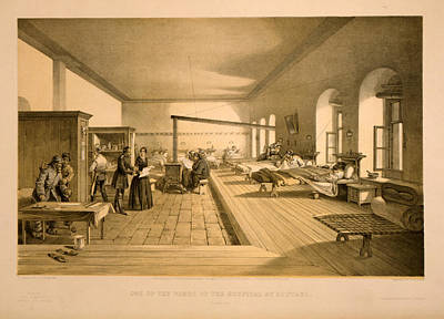 3-57 Drawing - One Of The Wards Of The Hospital At Scutari  W. Simpson by Litz Collection