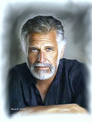 One Of The World's Most Interesting Man - In Oil Print by Angela A Stanton