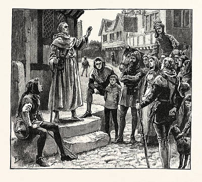 One Of Wycliffes Poor Priests Preaching To The People Art Print by English School