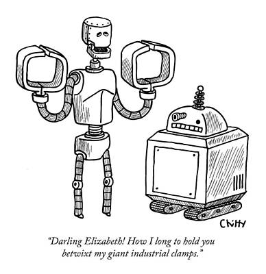 Tom-chitty Drawing - One Robot Speaks To Another by Tom Chitty