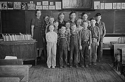 One-room Country School - Group Of Students With Teacher - North Art Print by Donald  Erickson
