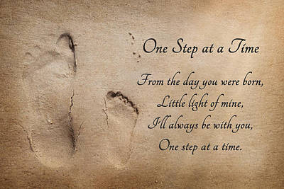 Seashore Quote Wall Art - Photograph - One Step At A Time by Lori Deiter