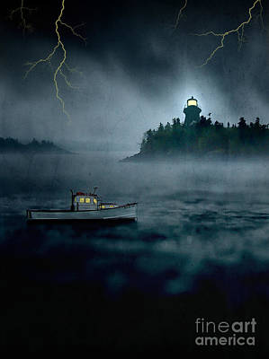 One Stormy Night In Maine Art Print by Edward Fielding