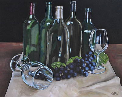 Wine Reflection Art Painting - One Too Many by Melissa Torres